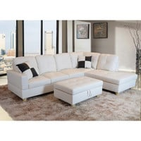Delma 3-piece White Faux Leather Right Chaise Sectional Set