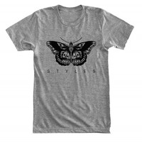 Black butterfly tattoo STYLES - Harry Styles - Gray/White Unisex T-Shirt - 039