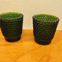 SMALL GREEN VINTAGE FOSTORIA CANDLE HOLDERS