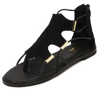 Black Corrected Grain Leather Casual Flats -SheIn(Sheinside)