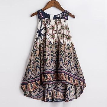 ChildDkivy 2017 Baby Girls Summer Dress 2016 New Brand Kids Print Party Dress for Girls Children Bohemian Fashion Clothes