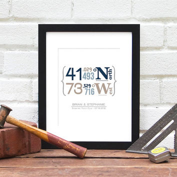 Gift For Newlyweds, Latitude and Longitude Travel Coordinates, Wedding Location, New Homeowner, Gifts for Him, Groomsmen Gifts, Family Home