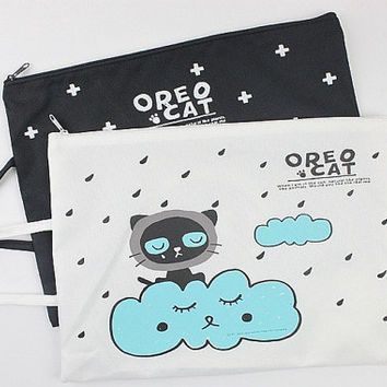 Cute Cat Zipper Bag, Kawaii Tablet Bag, Cute Travel Bag, Cute Make up Bag, Zipper Pouch,