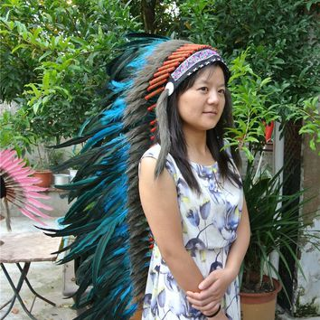 36inch turquoise Chief Indian feather Headdress Native American costume indian War Bonnet  hand made headdress
