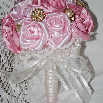 Bridal Bouquet - Brides Bouquet - Grooms Bout -  2 Tone Pink Handmade Roses, Crystal and  Pearl Brooches and Embellishments