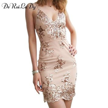 DeRuiLaDy Women Sexy Dress 2017 V-Neck Sling Backless Gold Black Sequin Dresses Luxury Party Club Wear Mini Sequined vestidos