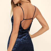 Totally Obsessed Navy Blue Velvet Bodycon Dress