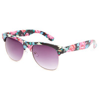 Full Tilt Floral Club Sunglasses Black Combo One Size For Women 23766614901