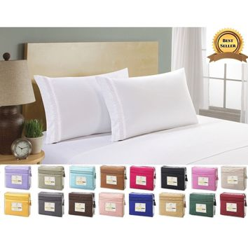 Polyester Comfort 1800 Count 4 Piece Deep Pocket Bed Sheet Set