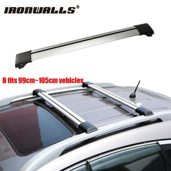 Ironwalls Car Roof Rack Cross Bar 99cm~105cm Top Luggage Cargo Carrier w/ Anti-theft Lock System 150LBS For Nissan Honda Ford