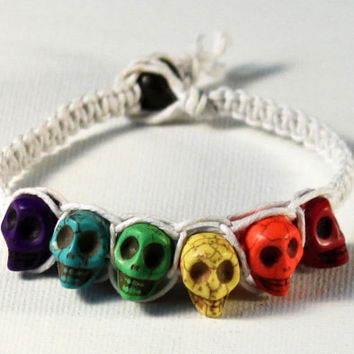 handmade white square knot hemp bracelet with rainbow skull beads
