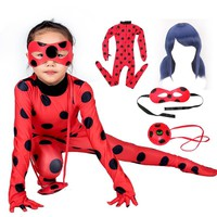 Fantasia Spandex Lady bug Miraculous Bag Wig Eye Mask Cosplay Costume  Adult Children LadyBug Halloween Costumes for Kids Girls