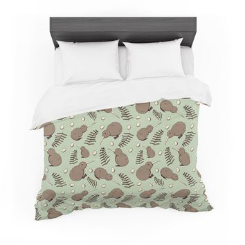 "Stephanie Vaeth ""Kiwi Bird"" Brown Green Illustration Featherweight Duvet Cover"