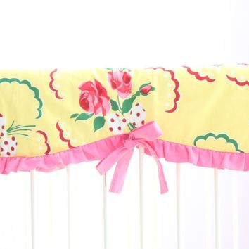 Emma's Yellow and Pink Floral Crib Rail Cover   Bold Bedding