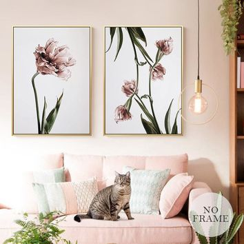 Waterproof Romantic Nordic  Flowers Poster Canvas Painting Wall Art  Pictures For Living  Room Spray Posters And Prints Unframed