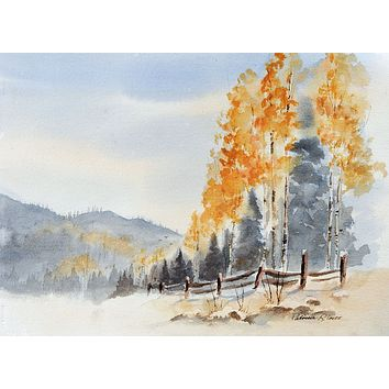 Mountain Aspens Watercolor Painting