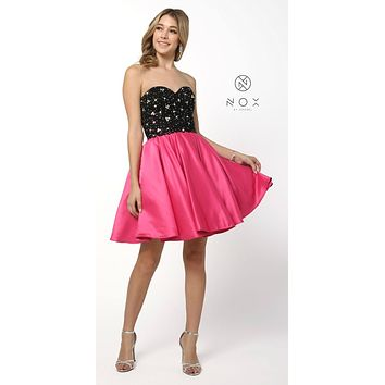 Sweetheart Neck Black/Fuchsia Homecoming Short Dress
