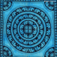 Blue Elephant Mandala Hippie Tie Dye Dorm Tapestry Wall Hanging on RoyalFurnish.com