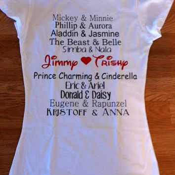 Free/Fast Shipping for US Disney Couples Names:Tank Top/Tee Shirt
