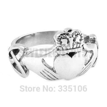 8 Free shipping! Claddagh Style Hand to Hold a Heart with Crown Ring Stainless Steel Jewelry Celtic Knot Wedding Ring SWR0309A