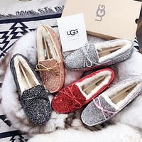 UGG New fashion sequined bow-knot non-slip abrasion resistant leep warm rubber sole shoes women