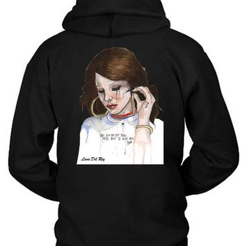 DCCKG72 Lana Del Rey One Gun On The Table Head Shot Fan Art Illustrations Hoodie Two Sided