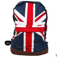 Vintage London Style Backpack Shoulder Bag Union Jack Knapsack Backpack Canvas Bag