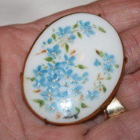 Vintage Porcelain  Brooch Hand Painted Blue Floral 1920s Jewelry
