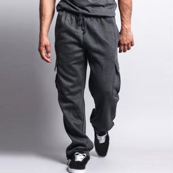 Mens Sweat Track Pants Fleece Lined Cargo Joggers