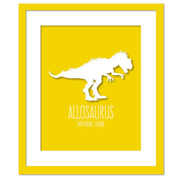 Allosaurus Dinosaur Art Print Poster - Nursery Bedroom - Dinosaur Birthday - Animal Poster for Children - Dinosaur Party - Kids Wall Art