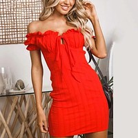 Sexy Off Shoulder Cotton Bodycon Dress Self Tie Front Elegant Sundress Evening Party Dresses Red