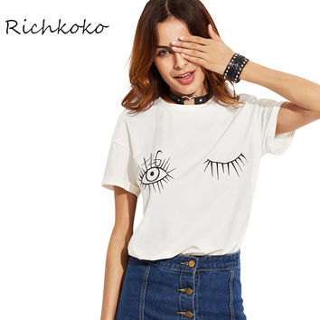 2017 White Printed T-shirt Women O-neck Short Sleeve Loose Casual Tops Brief Street Style Soft Female Tees Women