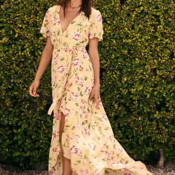 Sense of Wonder Yellow Floral Print Wrap Maxi Dress