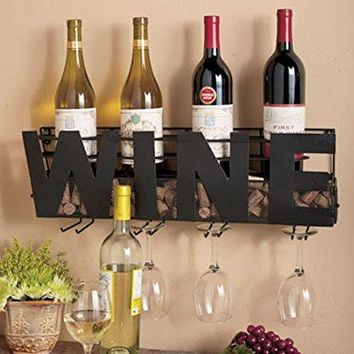 Metal Wall Mount Wine Bottle Rack: Hold Wine Corks & Wine Glasses by Besti