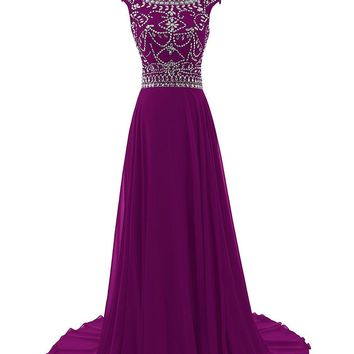 Fashion Plaza Women's Floor Length Bridesmaid Dress Cap Sleeves Beaded Prom Evening Gown