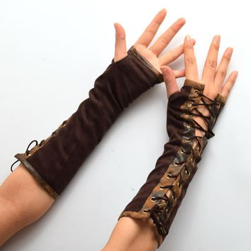 1pair Retro Women Lolita Steampunk Armband Gloves Vintage Victorian Tie-Up Brown Mitten Cosplay Accessory