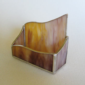 Stained Glass Business Card Holder - Gold and Mauve Swirl - Desk Accessory - Office Decor