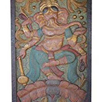 Vintage Luke Hand Carved Ganesha Dancing Door Panel Happiness, Prosperity Wall Sculpture Eclectic Decor
