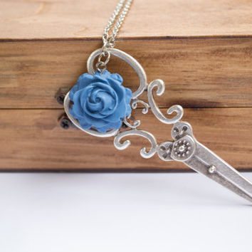 Silver Scissor Necklace. Long Necklace. Blue Rose Necklace. Dressmaker Necklace. Whimsical Jewelry