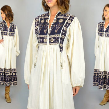 70s INDIAN COTTON bohemian ethnic metallic gold painted paisley DRESS, extra small-medium