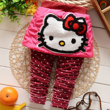 2016 New Baby Girls Warm Leggings with Hello Kitty print Pants trousers B070