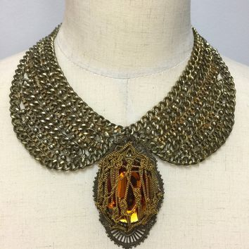 Goldtone Chainmail Collar with Vintage Pin