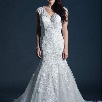 KCW1575 Lace Cap Sleeve Trumpet Wedding Dress by Kari Chang Eternal