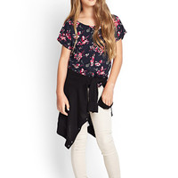 FOREVER 21 GIRLS Floral Crisscross Back Top (Kids) Navy/Fuchsia 5/6