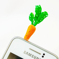 orange carrot , Dust Plug  Phone Dust Stopper Earphone Cap Headphone Jack Charm for iPhone 5 4 4s iPad Samsung s2 s3, 3.5mm
