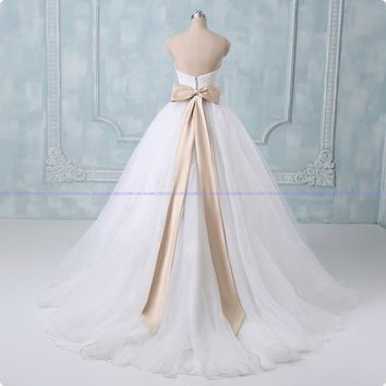 Ball Gown Wedding Dresses New Actual Image Appliques Sleeveless Wedding Dress Bridal Gown