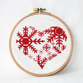 Christmas decorations ornaments Snowflakes Heart cross stitch pattern Winter Snow Embroidery Pattern - Winter decor snowflake