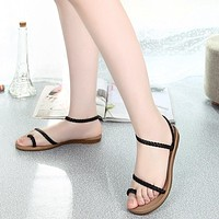 Women Summer  Fashion Weave Sandals Beach Flat Comfortable Shoes