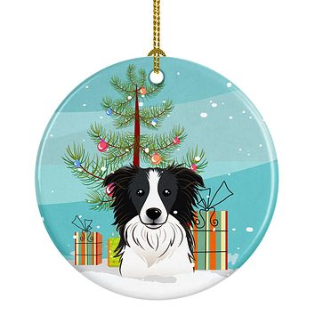 Christmas Tree and Border Collie Ceramic Ornament BB1613CO1