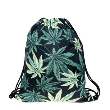 Marijuana Weed Leaf Drawstring Bags Cinch String Backpack